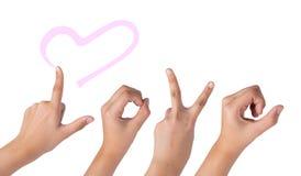 Main femelle d'isolement sur le blanc, signe d'amour Photographie stock