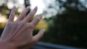 Main femelle de la fenêtre de voiture banque de vidéos