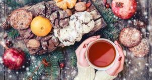 Main femelle par tasse de thé Biscuits chocolat, thé, grenade, mandarines, écrous, graines de Noël de cacao sur le fond neigeux e photographie stock libre de droits
