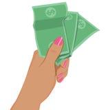 Main femelle tenant des billets de banque du dollar Images libres de droits