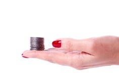 Main femelle tenant l'euro pièce de monnaie Photographie stock libre de droits