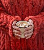 Main femelle tenant une tasse de chocolat chaud avec la guimauve Photographie stock libre de droits