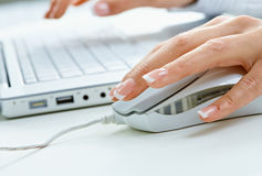 Main femelle utilisant la souris d'ordinateur Photo libre de droits