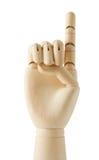 Main fictive en bois avec un doigt vers le haut Image stock