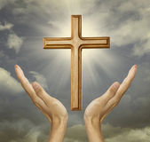 Main fidèle au dieu Photos stock