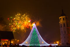 The main firework in Lithuania at New Year Royalty Free Stock Photography