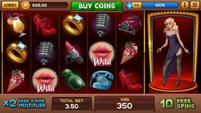 Free games screen for pin-up slots game. Free games interface screen for pin-up slots game. Vector illustration vector illustration