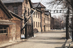 The main gate Auschwitz concentration camp with the inscription work makes you free. Stock Photos