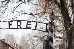 The main gate Auschwitz concentration camp with the inscription work makes you free. Royalty Free Stock Image