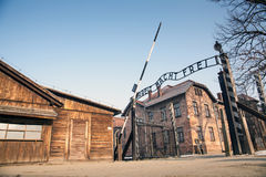 The main gate Auschwitz concentration camp with the inscription work makes you free. Stock Image