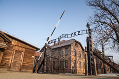 The main gate Auschwitz concentration camp with the inscription work makes you free. Museum Auschwitz - Holocaust Memorial Museum. Anniversary Concentration Stock Photos