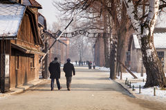 The main gate Auschwitz concentration camp with the inscription work makes you free. Stock Photography