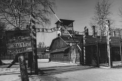 The main gate Auschwitz concentration camp with the inscription work makes you free. Stock Images