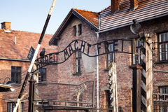The main gate Auschwitz concentration camp with the inscription work makes you free. Royalty Free Stock Photos