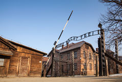 The main gate Auschwitz concentration camp with the inscription work makes you free. Museum Auschwitz - Holocaust Memorial Museum. Anniversary Concentration Royalty Free Stock Images