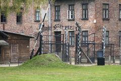 Main Gate at Auschwitz. Main Gate at the Nazi concentration camp Auschwitz near Kracow in Poland Stock Images