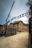The main gate of the concentration camp Auschwitz with the inscription work makes you free. Auschwitz, Poland, on April 14, 2018. Here took place the Stock Photo
