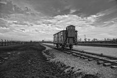 The main gate of the concentration camp. Wagon for the transport Royalty Free Stock Photo