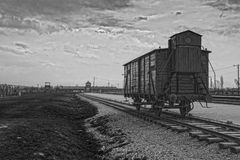 The main gate of the concentration camp. Wagon for the transport of prisoners. Stock Photography