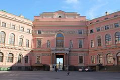 The main gate from the courtyard of the Mikhailovsky Castle. St. Petersburg. royalty free stock photo