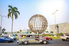 Main gate of Mall of Asia with Globe Rotunda in Pasay, Manila, Philippines. Manila, Philippines - Feb 10, 2018 : Main gate of Mall of Asia with Globe Rotunda in Stock Photography