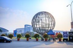 Main gate of Mall of Asia with Globe Rotunda in Pasay, Manila, Philippines. Manila, Philippines - Feb 10, 2018 : Main gate of Mall of Asia with Globe Rotunda in Royalty Free Stock Photo
