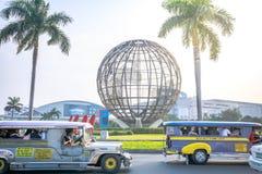 Main gate of Mall of Asia with Globe Rotunda in Pasay, Manila, Philippines. Manila, Philippines - Feb 10, 2018 : Main gate of Mall of Asia with Globe Rotunda in Royalty Free Stock Image