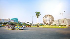 Main gate of Mall of Asia with Globe Rotunda in Pasay, Manila, Philippines. Manila, Philippines - Feb 10, 2018 : Main gate of Mall of Asia with Globe Rotunda in Stock Photos