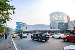 Main gate of Mall of Asia in Pasay, Manila city. Manila, Philippines - Feb 10, 2018 : Manila, Philippines - Feb 10, 2018 : Main gate of Mall of Asia in Pasay Stock Photo