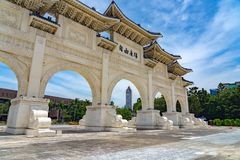 The main gate of National Taiwan Democracy Memorial Hall. ( National Chiang Kai-shek Memorial Hall ) The Chinese archways are located on Liberty Square. Taipei royalty free stock image