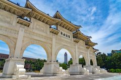 The main gate of National Taiwan Democracy Memorial Hall. ( National Chiang Kai-shek Memorial Hall ) The Chinese archways are located on Liberty Square. Taipei stock photo