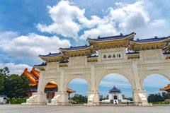 The main gate of National Taiwan Democracy Memorial Hall. ( National Chiang Kai-shek Memorial Hall ) The Chinese archways are located on Liberty Square. Taipei royalty free stock photography