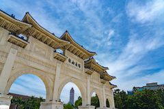 The main gate of National Taiwan Democracy Memorial Hall. ( National Chiang Kai-shek Memorial Hall ) The Chinese archways are located on Liberty Square. Taipei royalty free stock photos