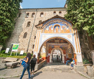 The main gate of Rila Monastery in Bulgaria Royalty Free Stock Photo