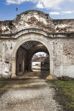 Main gate. Ruins of a beautiful gate of an abadoned chateau in transylvania Royalty Free Stock Photography