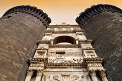 Main gate sculptures at Castel Nuovo, Naples, Italy Stock Image