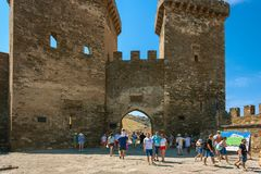 The main gate of Sudak fortress, castle stock photos