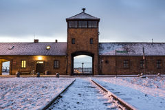 Main gate to concentration camp of Auschwitz Birkenau, Poland Royalty Free Stock Photography