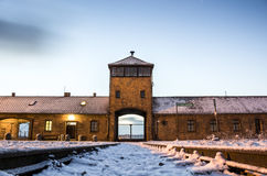 Main gate to concentration camp of Auschwitz Birkenau, Poland Royalty Free Stock Photos