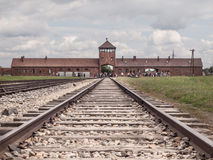 Main gate to concentration camp in Oswiecim-Brzezinka royalty free stock image