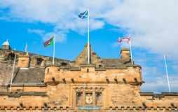 Main gate to the Edinburgh Castle in a sunny summer day, Scotland. stock photography