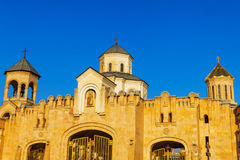 Main gates entrance to Tbilisi Sameba Cathedral Holy Trinity biggest Orthodox Cathedral in Georgia and Caucasus Stock Photography