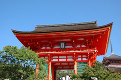 Main gates to temple of clear water. Kiomizu Dera. Kyoto. Japan Royalty Free Stock Images