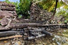 Main gates to the walls of Nan Madol - prehistoric ruined stone city. Pohnpei, Caroline Islands, Micronesia, Oceania. stock photos