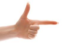 Main gauche avec l'indication par les doigts à quelque chose ou pré Images libres de droits