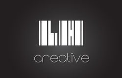 Main gauche L lettre Logo Design With White de H et lignes noires Image libre de droits