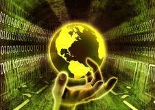 Main globale de l'information Image stock