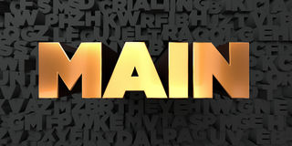 Main - Gold text on black background - 3D rendered royalty free stock picture Stock Images