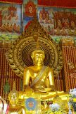 The main golden buddha in Chanasonkram temple, Ban Stock Image