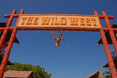Main Grand Entrance to Wild West Town. With Deer Head hanging still with Antlers Stock Images